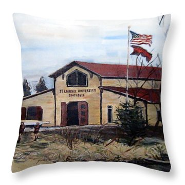 St. Lawrence Boathouse Throw Pillow