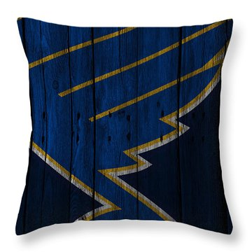 St Louis Blues Wood Fence Throw Pillow