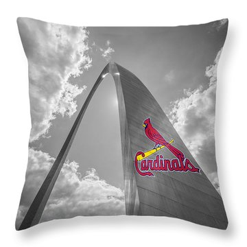St. Louis Cardinals Busch Stadium Gateway Arch 1 Throw Pillow by David Haskett