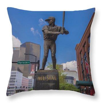 St. Louis Cardinals Busch Stadium Stan Musial Roses Throw Pillow by David Haskett