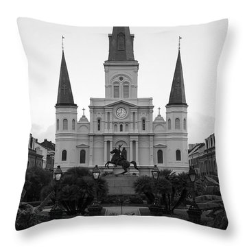 St Louis Cathedral On Jackson Square In The French Quarter New Orleans Black And White Throw Pillow by Shawn O'Brien