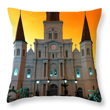 Throw Pillow featuring the photograph St. Louis Cathedral Pop Art by John Rizzuto