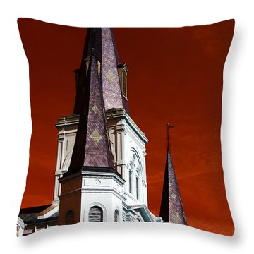 Throw Pillow featuring the photograph St. Louis Cathedral Towers Pop Art by John Rizzuto