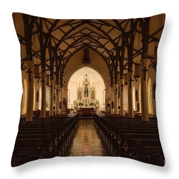 St. Louis Catholic Church Of Castroville Texas Throw Pillow