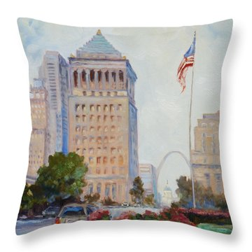 St. Louis Civil Court Building And Market Street Throw Pillow