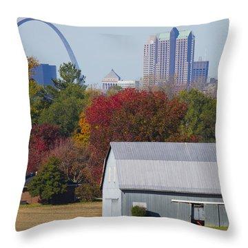St Louis Skyline From Illinois Throw Pillow