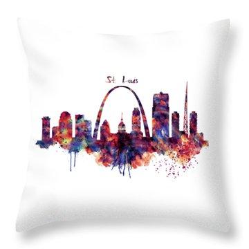 Throw Pillow featuring the digital art St Louis Skyline by Marian Voicu