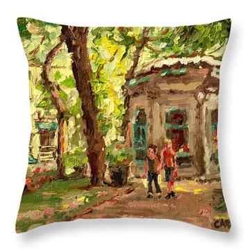St Louis Square St Denis Street Throw Pillow by Carole Spandau