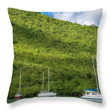 St Lucia Boats Throw Pillow