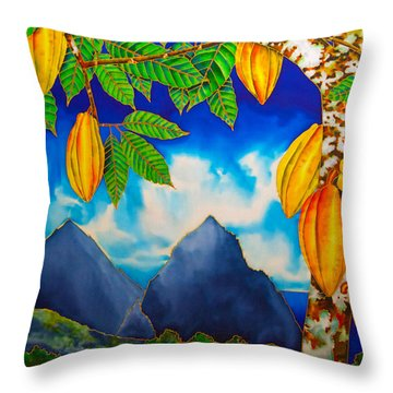 St. Lucia Cocoa Throw Pillow by Daniel Jean-Baptiste