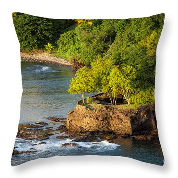 St Lucia - Trees On A Rocky Point Throw Pillow