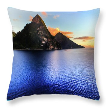 St. Lucia's Cobalt Blues Throw Pillow by Karen Wiles