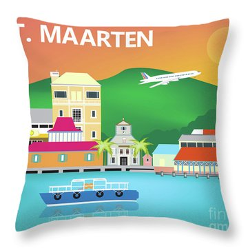 St. Maarten Horizontal Scene Throw Pillow