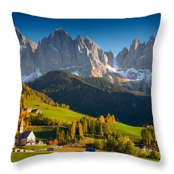St. Magdalena Alpine Village In Autumn Throw Pillow