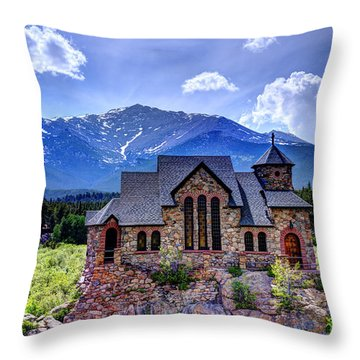 St. Malo - Chapel On The Rock Throw Pillow by Jean Hutchison