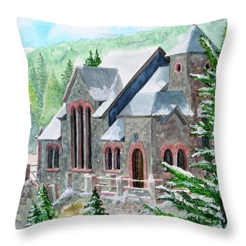 Throw Pillow featuring the painting St Malo Winter by Tom Riggs