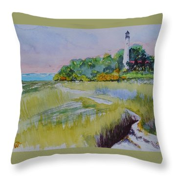 St. Marks Lighthouse Beachfront Throw Pillow by Warren Thompson