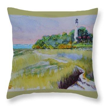 St. Marks Lighthouse Beachfront Throw Pillow
