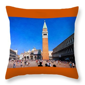 Throw Pillow featuring the photograph St Mark's Square by Anne Kotan