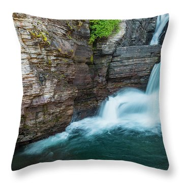 Throw Pillow featuring the photograph St. Mary Falls by Gary Lengyel