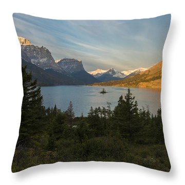 St. Mary Lake Throw Pillow by Gary Lengyel