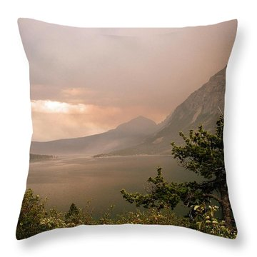 St Mary Lake In The Smoke Throw Pillow