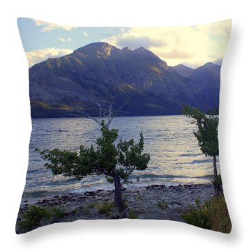 St. Mary Lake Throw Pillow by Marty Koch