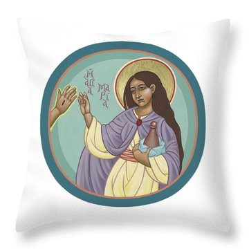 Throw Pillow featuring the painting St Mary Magdalen  Rabboni -  John 20 16 by William Hart McNichols