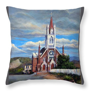 Throw Pillow featuring the painting St. Mary Of The Mountains by Donna Tucker