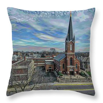St. Mary Parish Portrait Throw Pillow by Dave Luebbert