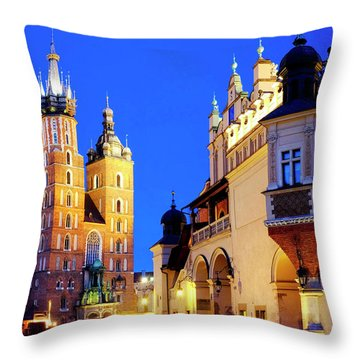 Throw Pillow featuring the photograph St. Mary's Basilica And Cloth Hall by Fabrizio Troiani