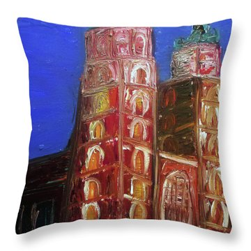 Throw Pillow featuring the painting St. Mary's Church Kosciol Marjacki by Ania M Milo