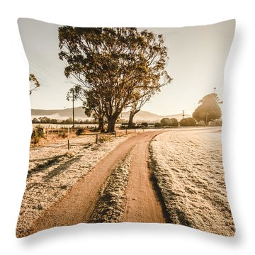 Throw Pillow featuring the photograph St Marys Winter Country Road by Jorgo Photography - Wall Art Gallery