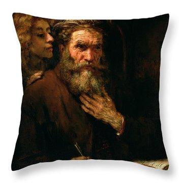 St Matthew And The Angel Throw Pillow by Rembrandt Harmensz van Rijn
