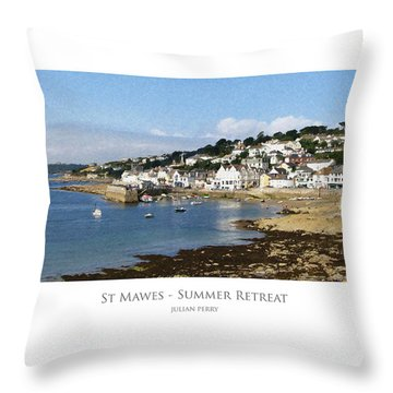 Throw Pillow featuring the digital art St Mawes - Summer Retreat by Julian Perry