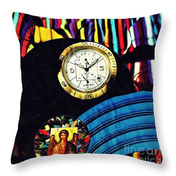 St Michael At The Gates Of Time Throw Pillow by Sarah Loft