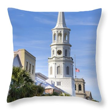 St Michaels Church Charleston Sc 3 Throw Pillow