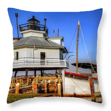 St Michaels Lighthouse Throw Pillow