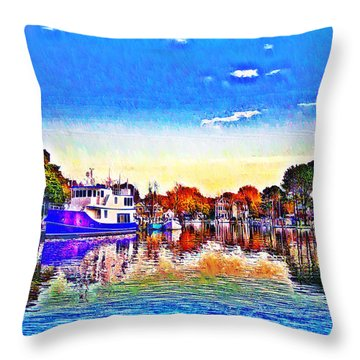 St. Michael's Marina Throw Pillow by Bill Cannon