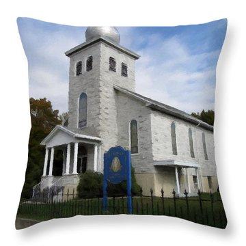 Throw Pillow featuring the photograph St Nicholas Church Saint Clair Pennsylvania by David Dehner
