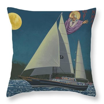 Throw Pillow featuring the painting St Nicholas Patron Of Children, Sailors And Sea Shepherds- 296 by William Hart McNichols