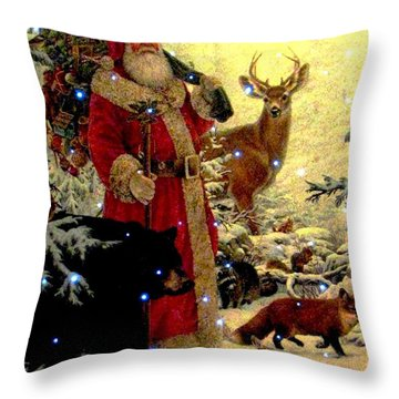 St Nick  And Friends Throw Pillow by Judyann Matthews
