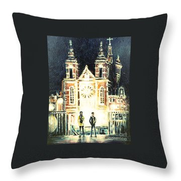 Throw Pillow featuring the drawing St Nicolaaskerk Church by Linda Shackelford