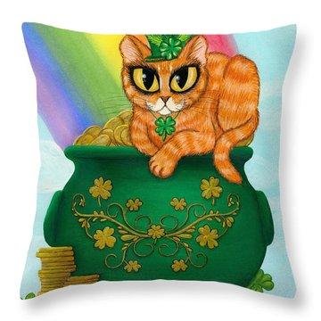St. Paddy's Day Cat - Orange Tabby Throw Pillow