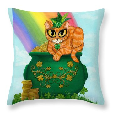 St. Paddy's Day Cat - Orange Tabby Throw Pillow