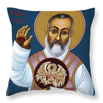 St Padre Pio Mother Pelican 047 Throw Pillow