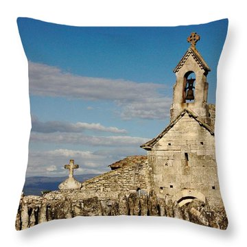 St. Pantaleon Church,  Luberon, France Throw Pillow