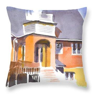 St Paul Lutheran In Watercolor 2 Throw Pillow by Kip DeVore