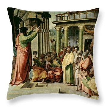 St. Paul Preaching At Athens  Throw Pillow by Raphael