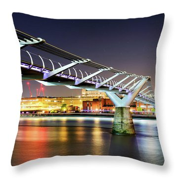St Paul's Cathedral During Night From The Millennium Bridge Over River Thames, London, United Kingdom. Throw Pillow